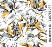 seamless pattern with a yellow... | Shutterstock .eps vector #610755077