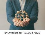 business man hand technology... | Shutterstock . vector #610757027