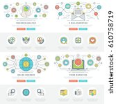 flat line business concepts set ... | Shutterstock .eps vector #610758719
