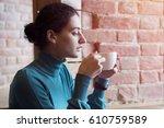attractive brunette woman... | Shutterstock . vector #610759589