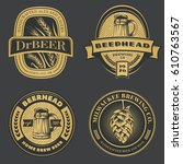 set of vintage beer emblems ... | Shutterstock .eps vector #610763567