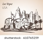 Stock vector las vegas cityscape sketch isolated on white background 610765259