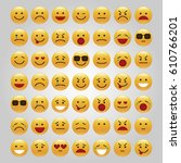 set of emoticons  icon pack ... | Shutterstock .eps vector #610766201