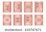 set template of postcards with... | Shutterstock .eps vector #610767671