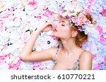 beautiful romantic young woman... | Shutterstock . vector #610770221
