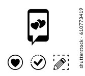 phone with hearts on the screen ... | Shutterstock .eps vector #610773419