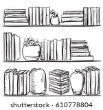 Different Color Books With Hand Drawn Bookshelves Sketch Interior Elements