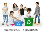 diverse group of kids recycling ...   Shutterstock . vector #610780685