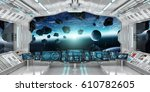spaceship interior with view on ... | Shutterstock . vector #610782605