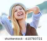 Happy Hipster Girl Rejoicing I...