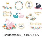 wedding and birthday set with... | Shutterstock .eps vector #610784477