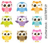 set of cute colorful owls... | Shutterstock .eps vector #610789919