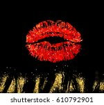 vector eps 10. red glitter... | Shutterstock .eps vector #610792901