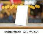 empty brown wooden table and... | Shutterstock . vector #610793564