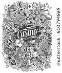 cartoon hand drawn doodles... | Shutterstock .eps vector #610794869