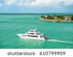 cruise touristic boat or yacht... | Shutterstock . vector #610799909