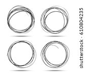 set of hand drawn circles using ... | Shutterstock . vector #610804235