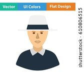 cricket umpire icon. flat...   Shutterstock .eps vector #610806515