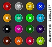 buttons. set of multicolored... | Shutterstock .eps vector #610811597