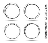 set of hand drawn circles using ... | Shutterstock . vector #610812125