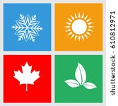 set of seasons icons  winter ... | Shutterstock . vector #610812971