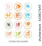 vector set of stickers with... | Shutterstock .eps vector #610817645