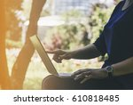 working in nature concept  ... | Shutterstock . vector #610818485