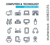 technology lined icons set with ... | Shutterstock .eps vector #610822151