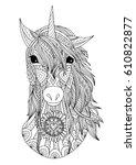 zendoodle stylized unicorn head ... | Shutterstock .eps vector #610822877