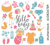 baby icons  toys hand drawn set.... | Shutterstock .eps vector #610826789