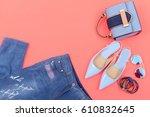 stylish woman handbag and... | Shutterstock . vector #610832645