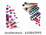 women's makeup accessories on... | Shutterstock . vector #610842995