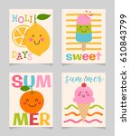 vector set of cute colorful... | Shutterstock .eps vector #610843799