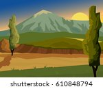 summer landscape. high... | Shutterstock .eps vector #610848794