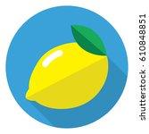 lemon icon in flat design | Shutterstock .eps vector #610848851