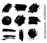 set of black paint  ink brush... | Shutterstock .eps vector #610850267