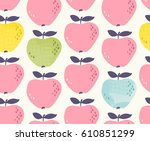 seamless pattern with apples | Shutterstock .eps vector #610851299