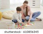 cute little boy at speech...   Shutterstock . vector #610856345