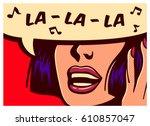 pop art style comic book panel... | Shutterstock .eps vector #610857047
