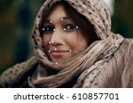 face recognition on polygonal...   Shutterstock . vector #610857701