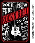 rock poster tee graphic | Shutterstock .eps vector #610858604