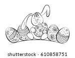 easter bunny with patterned... | Shutterstock .eps vector #610858751
