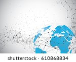global network connection.... | Shutterstock .eps vector #610868834