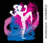 sport fitness poster with woman ... | Shutterstock .eps vector #610868921