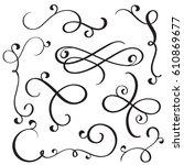 vintage flourish decorative art ... | Shutterstock .eps vector #610869677