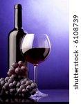 red wine glass grape bottle - stock photo