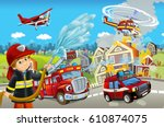 cartoon stage with different... | Shutterstock . vector #610874075