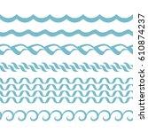 seamless wavy horizontal...   Shutterstock .eps vector #610874237