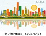 miami skyline with color...   Shutterstock .eps vector #610876415
