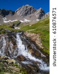 lake verney petit saint bernard ...   Shutterstock . vector #610876571